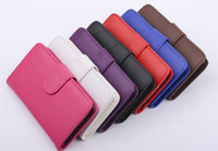 Wholesale For Samsung Galaxy S4 I9500 I9505 Smooth Wallet Book Style Slim PU Leather Flip Case Cover With Credit Card Slot Holder