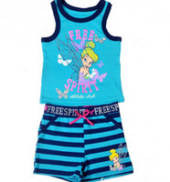 2014 Girls Sets Fashion Tinkerbell Blue Fairies Set Vest Tan...