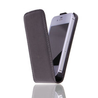 Wholesale Promotion Price Luxury Smooth Leather Case For iPhone Flip Cover For iPhone4S G Black Color Hot Selling