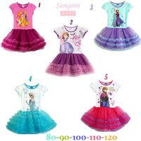 Fashion Frozen Princess Anna Elsa Sofia Short Sleeve Dress C...