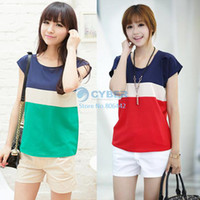 Women Polyester Polo 2014 New Fashion Women's Stripe Chiffion Blouses, Short Sleeve Big Size S M L XL XXL Tops For Women Shirts SV000148#006