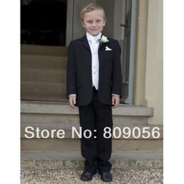 Wholesale B98 gorgeous black page boy suit Boy Wedding Suit Boys Formal Occasion Attire Custom made suit tuxedo jacket pants vest tie