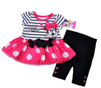 Girl Summer Short 2014 Infant Baby Girls Minnie Mouse Outfit 12M 18M 24M Toddlers Set Short Sleeve Stripe Dress Dots Shirt Bow Legging Pant 2 Piece Sets C2036