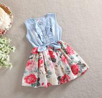 TuTu Summer Beach Summer Girl Wear Kid Clothing Korean Denim Dresses Chiffon Flower Printing Splicing Dress Girl Cotton Princess Dress SY
