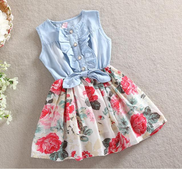 Floral Dress Baby Girl Denim Patchwork Dresses Summer Flower Dress ...