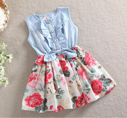 Floral dress baby girl denim patchwork dresses summer flower dress children dresses clothes