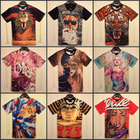 Wholesale 2014 Summer Fashion women men Funny Animal Tiger D T shirt Top Printed Creative O Neck short sleeve Tee Tops