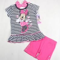 Wholesale Children Clothing Pure Cotton Set Girl Minnie Mouse New Style Suits Stripe Back Big Bowknot Dots Ruffles Edge T Shirt Short Pants C2038