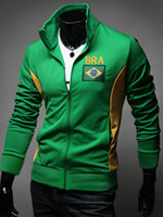 Wholesale Hot NWT Spring Men s Fashion Brazil World Cup Flag Embroidery Hoodies Hit Color Slim Fit Soccer Fans Sport Hoodies