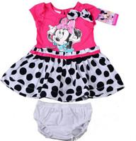 Girl Summer Short New Arrival 2014 Togddler Girls Summer Clothing Set Minnie Mouse Pleated Polka Dot Dress Bowknot Dresses + Briefs Pant Girls 2pcs Sets C2039