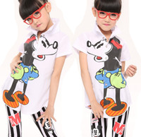 New Arrival 2014 Summer For Big Girls Mouse Cartoon Short Sl...