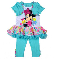 Girl Summer Short New kids Clothes Sets 2014 Baby Girl Lovely Minnie Mouse Flower Lace Glitter Shirt Dress Pant Tights 2pcs Set Girls Summer Outfit Blue C2041