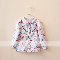 Wholesale Fashion Design Toddler Girl Spring Shirt Turn Down Collar Design And Leaves Pattern Children Cotton Blouse GT40323