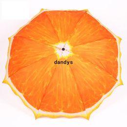 Wholesale 2014 Novelty Items Fresh Fruit Orange fold umbrellas for rain man s umbrella Not Automatic Sun Umbrella Manually dandys