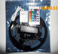 Wholesale Low Price M RGB Led Strip Light SMD Flexible Waterproof IP65 LEDs Keys IR Remote A EU US Plug Power Supply Indoor Lighting