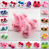 Wholesale Brand New Unisex Baby Infant Crochet Shoes Exquisite Handmade Wool Weaving Knitted Toddler pairs DQX877H