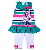 Wholesale 2014 Summer Set Kids Favourite Cartoon Minnie Mouse Sleeveless Ruffled Green Striped Tank Top T shirt Bowknot White Leggings Sets C2042
