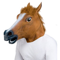Wholesale RUBBER Latex HORSE HEAD MASK PANTO FANCY DRESS PARTY COSPLAY HALLOWEEN ADULT COSTUME