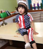 2014 New Zipper Suit Boys Girls Striped And Star Clothing Se...