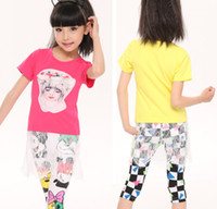Fashion 2014 New Summer Big Girls Short Sleeve Cartoon Head ...