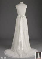 Wholesale 2012 Lace Cap sleeve Trumpet with Keyhole Back and Sash Bridal Gowns Wedding Dress Dresses