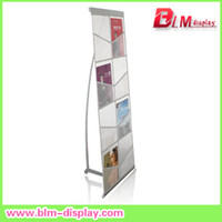 Wholesale aluminum net brochure holder suitable for A4 size magazine rack portable literature stand holder