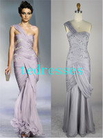 Reference Images One-Shoulder Chiffon 2014 Hot SaleReal Fashion Zuhair Murad Sheath One-Shoulder Floor-Length Sleeveless Evening Dresses Prom Dresses With Beads Sequined Ruffles