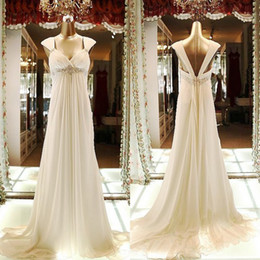 Wholesale 2014 Sweetheart Empire Maternity Dresses Chiffon Beaded Long Evening Bridesmaid Gowns Beach Garden A Line Wedding Dresses for Pregnant Woman