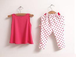 Wholesale 2014 children s clothing summer set child flower female vest polka dot harem pants kids clothes girls clothing sets