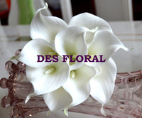 Wedding calla lily artificial flowers - DES FLORAL Decorative flower artificial White Mini Calla Lily Bundle for wedding decoration