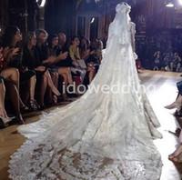 Two-Layer Chapel Length Lace Applique Edge Eye-catching White Lace Slight Gauze 3 Meters Long Zuhair Murad Wedding Mantilla Veils
