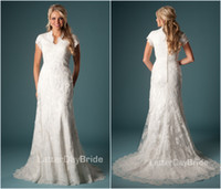 Wholesale Modest Muslim New Arrival A Line Lace Wedding Dresses Bridal Gown Short Sleeves V Neck Covered Button Chapel Train Stunning Custom Made