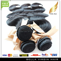 Wholesale On sale A Malaysian Peruvian Indian Brazilian Body Wave Wavy Hair Extensions quot quot Human Hair Bundles Weft Weaves Bellahair
