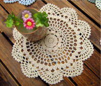Wholesale New CM inch Beige amp Wihte Shabby Chic Vintage Look Crocheted Doilies handmake lace tablechoth frree shipping