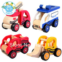 Wholesale New arrival for police car bulldozer dump car fire truck wooden car model toy