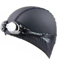 Wholesale 2013 New Arrival High Quality Swimming Gear One Swimming Cap one Swimming Goggles Men And Women Pu Waterproof