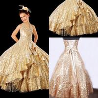 achat en gros de paillettes d'or filles perlées robe-2014 Robes boule Robes de filles Pageant Halter perles Paillettes d'or longueur de plancher Enfants Occasion Dress Lace Up YO10