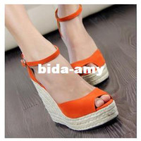 Wholesale Summer Fashion Wedge Women Canvas Platform Heels Sandals For Lady Shoes And Slipper GG1046