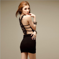 Wholesale Krazy american apparel fashion spring summer sexy backless club dress spaghetti strap embroidery cut out party dresses GD2010