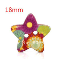 Buttons Yes Multicolor Free Shipping 100 Pcs Star Shape 2 Holes Wood Sewing Buttons 18x17mm Knopf Boutons(W01429 X 1)