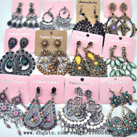 Wholesale Multiple styles mixed batch Alloy diamond earrings exaggerated retro bohemian jewelry earrings for woman a132