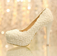 Wholesale Hnadmade women Sweet white flowers lace platform high heels pearl wedding shoes bride white dress shoes