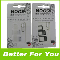 Wholesale 200Sets In Noosy Nano Micro SIM Card Adapter Eject Pin For iPhone S For iPhone S With Retail Box DHL