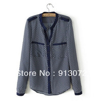 Wholesale ST945 New Fashion Ladies Geometric pattern blouses office lady elegant long sleeve casual slim brand designer tops
