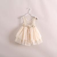 TuTu Summer Pleated Brand New Fashion Children's summer vest sleeveless dress baby girl Handmade flower lace Crochet Gauze Tutu sling dress Beige Black Red