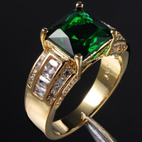 Wholesale Stunning Men s Green Emerald Crystal Gemstone KT Yellow Gold Filled Ring Hot Gift
