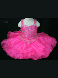 2016 Latest Arrival Hot Pink Girls Pageant Dresses Lovely Organza Shoulders With Straps Zipper Back Beading Bodice Tiered Ruffle Skirt Bow