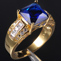 Wholesale EXCLUSIVE Men s Blue Tanzanite Crystal Gemstone KT Yellow Gold Filled Ring Hot Gift