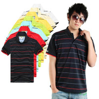 Men Polo Tops Factory sale 2013 fashion Men's polo shirt Short Sleeve stripe color T-Shirt men retail wholesale M L XL XXL Free shippingEYTW13