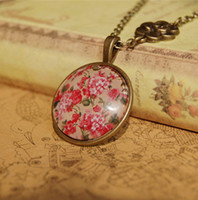 Wholesale New Floral Print Flower Necklace Long Necklaces Cameo Glass Handmade Chinese Ethnic Jewelry xl071